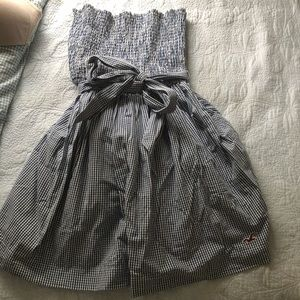 Girls Hollister blue gingham check sun dress